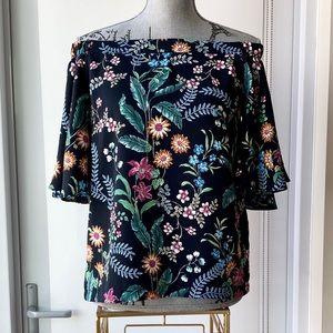 Floral Off Shoulder Flutter Sleeve Top